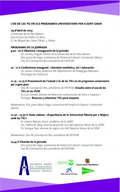 Programa Jornada Presentación Estudios TIC en UIB